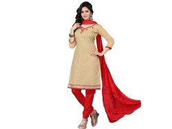 Cream Colored Banarasi Jacquard Unstitched Salwar Suit