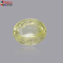 Astrology Natural Yellow Sapphire Oval Loose Gemstones with Lab Certificate, Carat: 7.22 Cts