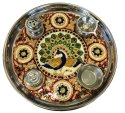 Nirmala Handicrafts Decorative Meenakari Temple  Steel Pooja Thali With Diya & Incense Holder Thali