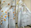Silk Party Wear Tissue Linen Embroidery Saree With Blouse Piece
