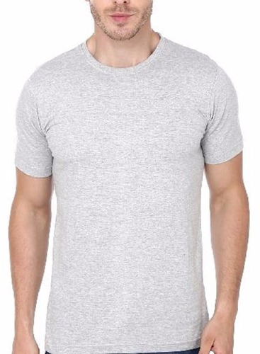 da445d59a90 Cotton Round Mens Plain Solid Half Sleeve T Shirt Grey