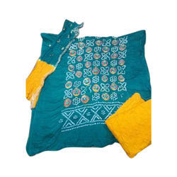 Multi Color Cotton Multi Ring Barik Bandhani Dress Material