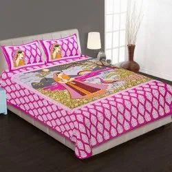Printed sanganeri bedsheet
