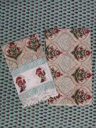 Multi Vegetable Natural Color Hand Block Printed Cotton Fabric Suit Set