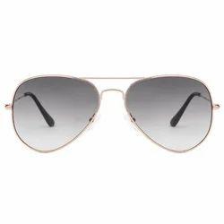 Golden Grey Aviators Sun Goggles