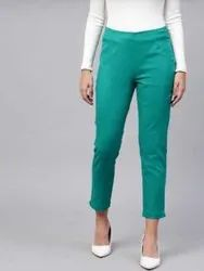 Green Cigarette Pants For Woman