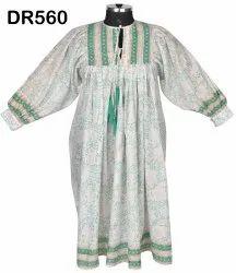 Cotton Hand Block Printed Women Long Maxi Dress DR560