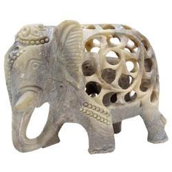 Soapstone Undercut Elephant Sculpture