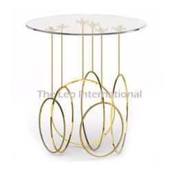 Glass Top Metal Frame Golden Finish Coffee Table