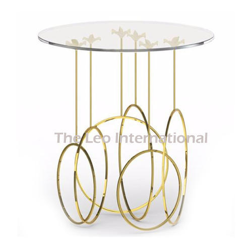 Glass Top Metal Frame Golden Finish Coffee