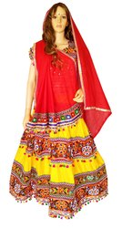 Rayon Cotton Embroidered Chaniya Choli - Pom Pom Work Choli- Gujarati Garba Choli - Navratri Ghagra
