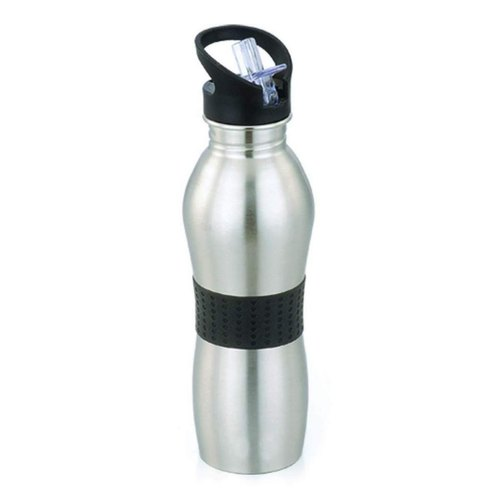 Silver And Black Stainless Steel SS Water Bottle, Capacity: 1 Ltr, For Home