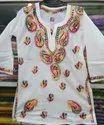 White Cotton Girl's Kurti