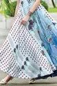Ice Blue Digital Print Flared Gown