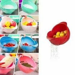 Plastic Vegetable Fruit Rinse Bowl & Strainer Cum Basket
