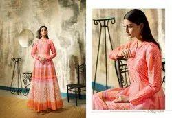 Slub Cotton Digital Print Ladies Gown