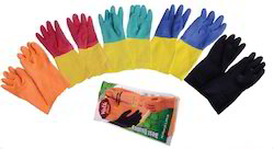 Volk Plus House Hold Flock Lined Rubber Hand Gloves