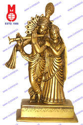Lord Radha Krishna Standing On Sq. Base Statues