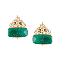 Green Onyx Studs, Size: Length- 3.5 And Width - 3.1