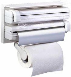 Kitchen Wall Mounted Towel Rack Tin Foil Film Dispenser Paper Roller Holder