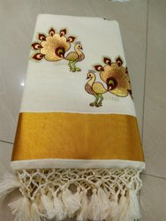 Embroidered Kerala Cotton Saree