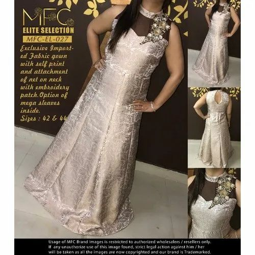 MFC Cotton Fancy Long Ladies Gown, Packaging Type: Packet