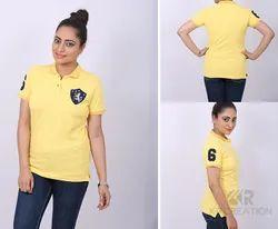 Ladies Polo Neck Yellow T-Shirt