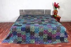 Kantha Patch Bedcover Indigo Daabu Printed 90 x 108 inch Multi color