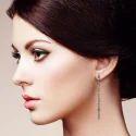 Baguette Diamonds Silver Handmade Bar Earrings Jewelry