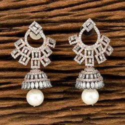 White Cz Black Rose Plated Classic Earring 405542