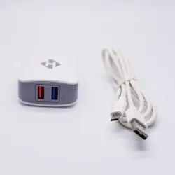 White and Black Hashtel Dual USB Travel Charger With Data Cable (2.4A), for Mobile Charging