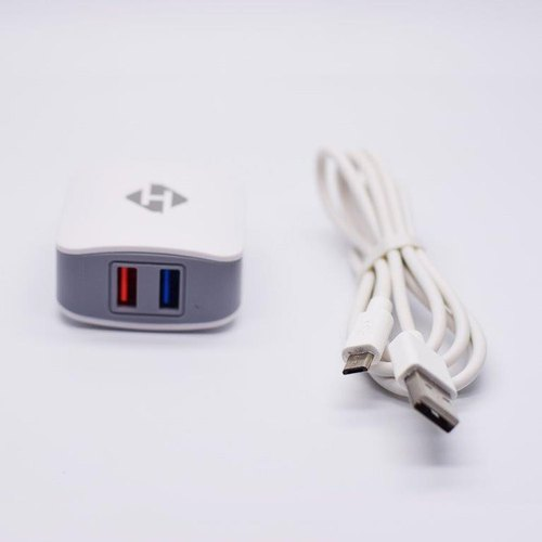 Dual USB Travel Charger With Data Cable (2.4A)