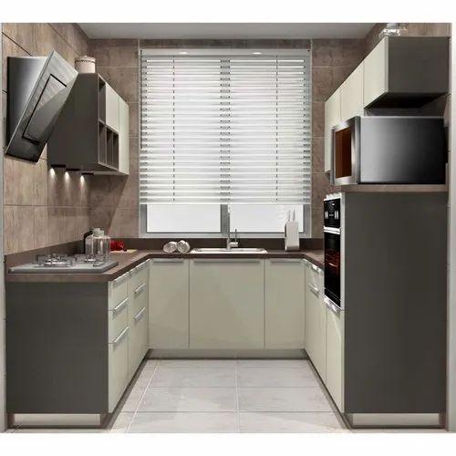 Sleek World PVC U Shaped Modern Kitchen, Kitchen Cabinets