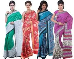 Printed Murshidabad Silk Saree, With blouse piece, 5.5 m (separate blouse piece)