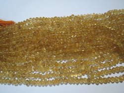 Natural Untreated Citrine Smooth Rondelle Stone Beads