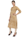 Women's Cotton Mustard Color Printed Kurta