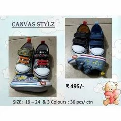 Printed Available In 3 Colours Tender Heartz Canvas Stylz Booties, Size: 19-24