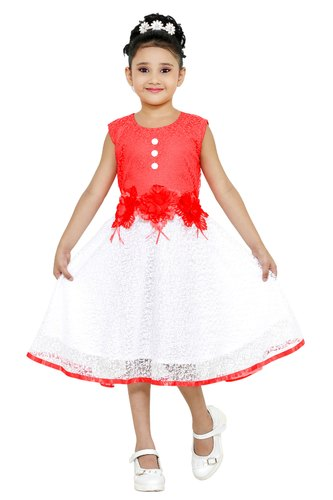 54e2eb6a67 Girls Red & White Net Frock