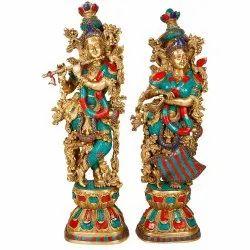 Brass Krishna radha Statue