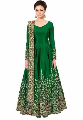 a677c19ff840f Festival Embroidered Kelly Green Silk Heavy Anarkali Suit, Size: 34 ...