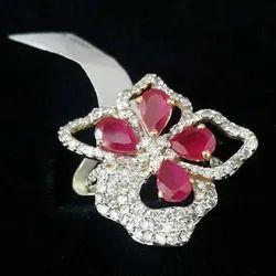 Pink Stone Diamond Ring