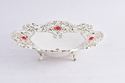 Silver Plated Fruit Basket with Red Stone Small Size-FB1016