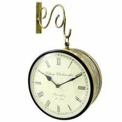 Brass Railway Clock Double Side