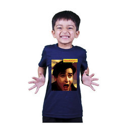 Cotton Kids Half Sleeve Blue T Shirt, Size: S & M