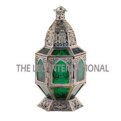 Green Glass Antique Look Moroccan Lantern