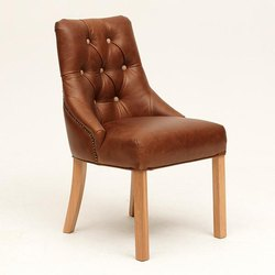 Rustic Green Brown Leather Restaurant Dining Chair, For Home,Cafe, Seating Capacity: 1 Person
