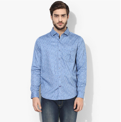 Red Chief Sky Blue denim regular fit casual shirt 8110373, Size: 38-40-42-44-46