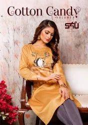 Round Neck Party Wear S4U Shivali Full Sleeve Designer Kurtis, Wash Care: Handwash