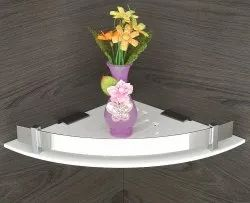 White Triangle Acrylic Unbreakable Corner Shelves (8x8-inch) for Kitchen