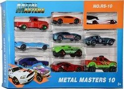 Plastic and Metal Masters Colorful Cars Toy - Pack of 10